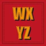 Ретро шрифт алфавита от w - z на красной предпосылке Стоковые Изображения RF
