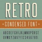 Ретро шрифт алфавита сконденсированный вектором Стоковые Фото