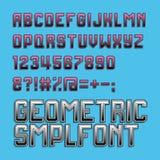 Ретро шрифт алфавита стиля Cyan и magenta цвет Стоковая Фотография