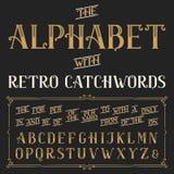Ретро шрифт вектора алфавита с catchwords Стоковые Фотографии RF