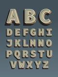 Ретро шрифт. Винтажный алфавит Стоковое Изображение