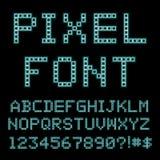 Ретро шрифт компьютера Старый алфавит ПК иллюстрация вектора