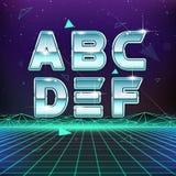 ретро шрифт научной фантастики 80s от a к f Стоковая Фотография RF