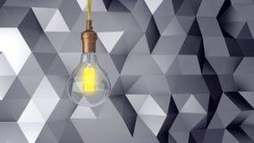 Ретро электрическая лампочка на абстрактной современной предпосылке треугольников перевод 3d бесплатная иллюстрация
