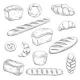 Ретро эскизы хлебопекарни и печенья иллюстрация вектора