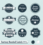Ретро ярлыки и стикеры лиги бейсбола фантазии бесплатная иллюстрация