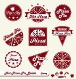 Ретро ярлыки и стикеры магазина пиццы иллюстрация штока