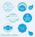 Ретро ярлыки и стикеры питьевой воды иллюстрация штока