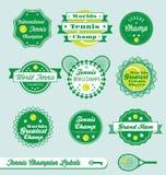 Ретро ярлыки и стикеры тенниса иллюстрация штока