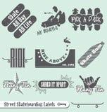 Ретро ярлыки и стикеры Skateboarding иллюстрация штока