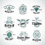 Ретро ярлыки вектора велосипеда или установленные шаблоны логотипа Стоковые Изображения RF