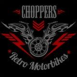 Ретро ярлык мотоцикла, значок и элементы дизайна Стоковая Фотография