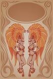 Ретро affiche с танцором кабара Стоковые Изображения RF