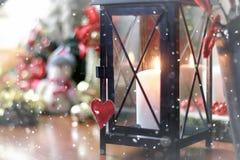 Ретро bokeh снега формы сердца Стоковая Фотография