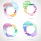 Ретро striped круговые элементы дизайна Стоковые Изображения