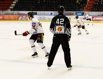 Рефери хоккея, спичка хоккея на льде в hockeyallsvenskan между SSK и MODO Стоковые Фото