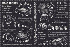 Рецепты мясных блюд Дизайн вектора чертежа мела иллюстрация вектора