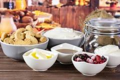 Рецепт нет печет чизкейк с деревенской кухней стоковое изображение