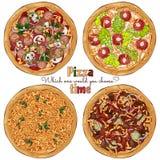 Рецепт пицц иллюстрация штока