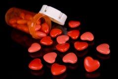 рецепт сердец конфеты бутылки Стоковая Фотография RF