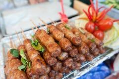 Рецепт сосиски мяса свинины Isaan Стоковые Изображения RF