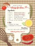 Рецепт для приглашения свадьбы влюбленности творческого Стоковая Фотография RF