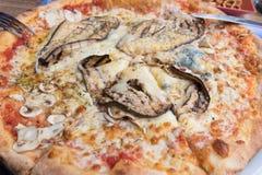 Рецепт formaggi quattro пиццы итальянский с aubergine стоковые фото