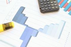 Рецессия, торможение и рост на объемной гистограмме Стоковые Изображения RF