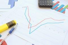 Рецессия, торможение и спасение на диаграмме Стоковые Фотографии RF