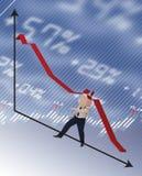рецессия удара принципиальной схемы бизнесмена Стоковое фото RF