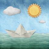 рециркулированная бумага origami корабля шлюпки Стоковое Изображение