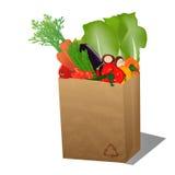 Рециркулированный ходя по магазинам бумажный мешок с veggies бесплатная иллюстрация