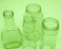 рециркулировать опарников бутылок 4 стеклянный Стоковые Изображения