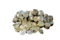 Рециркулируйте старый законсервированный алюминий для рециркулировать, который нужно помочь быть зеленый для земли Стоковые Фото