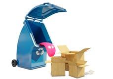 Рециркулирующ контейнер для бумаги ест paperboards бесплатная иллюстрация