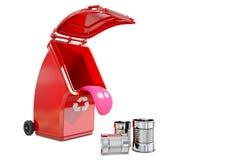 Рециркулирующ контейнер для металла ест металлическую чонсервную банку иллюстрация вектора