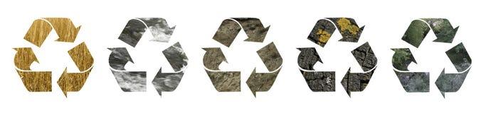 рециркулирующ символы различные Стоковые Изображения