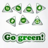 Рециркулируйте зеленые стикеры Стоковое Фото