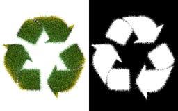 Рециркулируйте символ логотипа от зеленой травы, изолированной на белизне с Стоковые Изображения RF