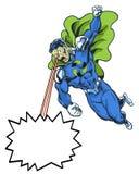 Рециркулируйте супергероя комика в героикоромантическом представлении используя лучи глаза для сообщения Стоковая Фотография RF