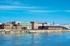Речной берег бича взгляда Будапешта Стоковая Фотография