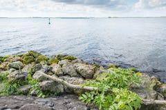 Речной берег с блоками и камнями базальта Стоковые Фотографии RF