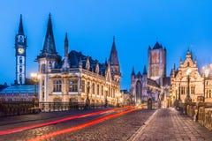 Речной берег Leie в Генте, Бельгии, Европе. Стоковые Изображения