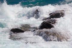 Речные пороги на стечении реки хлебопека и реки Nef, Патагонии, Чили Стоковые Изображения