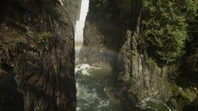 Речные пороги реки Capilano, северный Ванкувер акции видеоматериалы