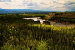 5 речных порогов пальца, Юкон, Канада стоковые фото
