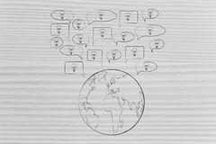 Речь клокочет с электрическими лампочками хлопающ из земли планеты Стоковые Фото