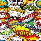 Речь комиксов клокочет безшовная картина вектор Стоковое Изображение