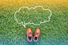 Речь пузыря и ботинки игрушки Стоковое Фото