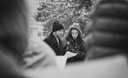 Речь студентов - март на наши жизни стоковое изображение rf